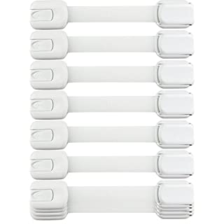 Child Safety Strap Locks (10 Pack) Baby Locks for Cabinets and Drawers, Toilet, Fridge & More. 3M Adhesive Pads. Easy Installation, No Drilling Required, White