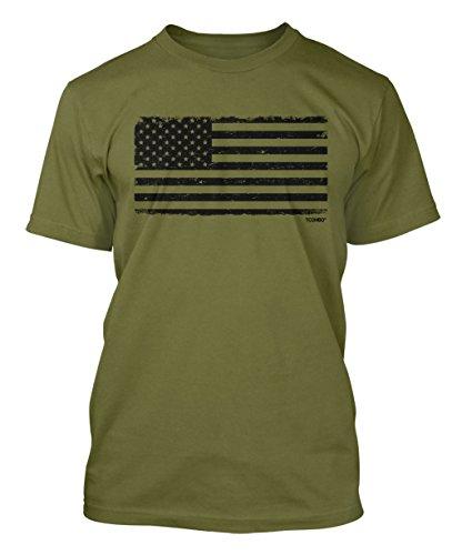 Distressed Black USA Flag Men's T-shirt (Large, - Flag American Tshirt
