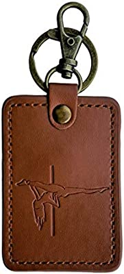 Pole Dance Gift Keychain Key Ring Secret Pockets- Pole Dancing Moves (Rectangle Jade, Brown Leather)