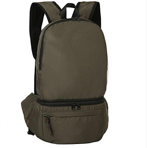 BUSL Gran capacidad salidas al aire libre senderismo bolsa impermeable de nylon plegable de 28L Mochila bolsa de almacenamiento . brown army green