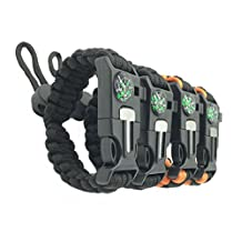 Adjustable Survival Bracelets [pack of 4] - Paracord + Compass + Fire Starter + Loud Whistle + Emergency Knife - Hiking Camping Fishing Hunting Gear (2 colors)