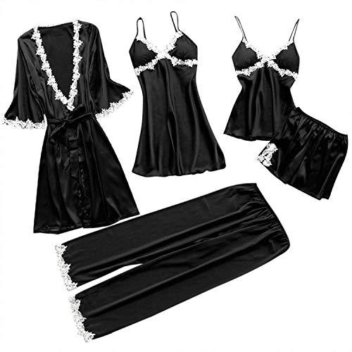 Women Lace Pajamas Sets Satin Women Sexy Underwear Robe Sleepwear Kit Sleeveless Nightwear Pijama Mujer(M,Black)