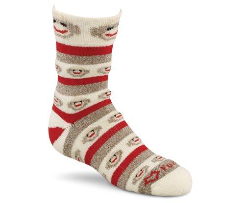 Fox River Girl's Red Heel Merino Monkey Stripe Crew Socks, Brown Heather, Small