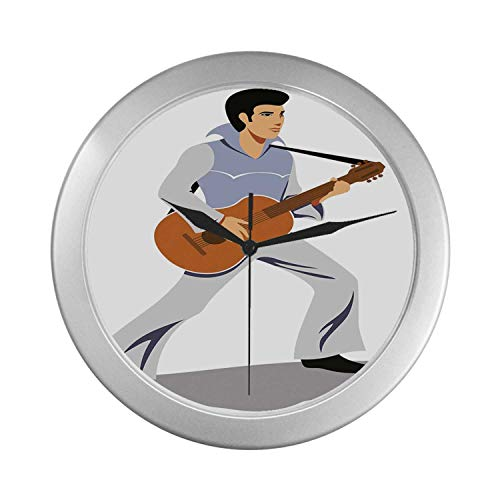 C COABALLA Elvis Presley Decor Simple Silver Color Wall Clock,Musician Artist Guitar Instrument Rock and Sound Cartoon for Home Office,9.65
