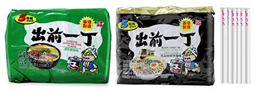 Nissin Ramen Noodle Instant Noodles With Soup Base Japanese Instant Ramen Variety Pack With Free Chopstick (5 Pack Black Garlic Tonkotsu+ 5 Pack Tonkotsu Pork)