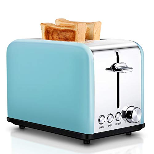 Toaster 2 Slice, Retro Small Toaster with Bagel, Cancel, Defrost Function, Extra Wide Slot Compact Stainless Steel Toasters for Bread Waffles, Blue (Renewed)