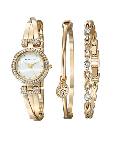 Anne Klein Women's AK/1868GBST Swarovski Crystal-Accented Gold-Tone Bangle Watch and Bracelet Set (Bangle Watch Quartz Bracelet)