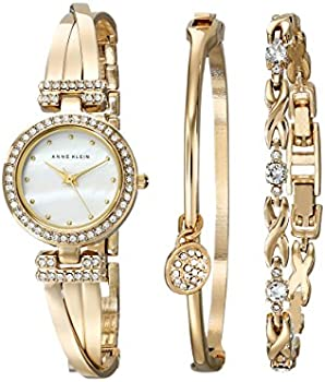 Anne Klein Women's Crystal-Accented Gold-Tone Watch & Bracelet Set