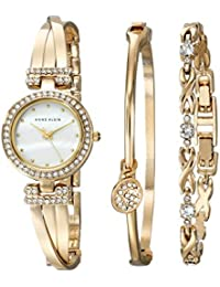 6b3dc7e051f6 Women's AK/1868GBST Swarovski Crystal-Accented Gold-Tone Bangle Watch and  Bracelet Set