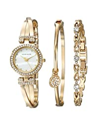 Anne Klein Women's AK/1868GBST Swarovski Crystal Accented Gold-Tone Bangle Watch and Bracelet Set