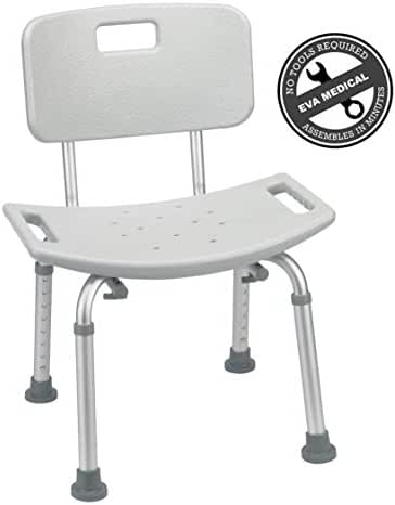 EVA Medical Tool-Free Spa Bathtub Adjustable Shower Chair Seat Bench with Removable Back