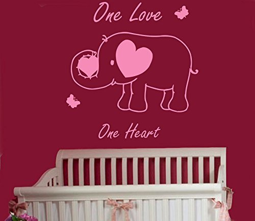 Wall Decal One Love One Heart Quote Decal Elephant Vinyl Sticker Baby Girl Boy Bedroom Nursery Home Dcor