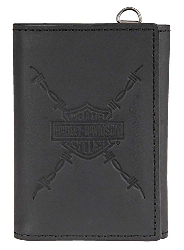 Harley-Davidson Men's Danger Zone Tri-Fold Genuine Leather Wallet (Logo Leather Chain Wallet)