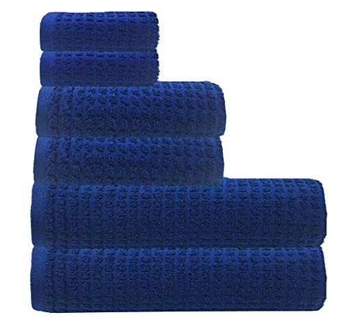 Glamburg 100% Pure Organic Cotton 6-Piece Towel Set - OEKOTEX Organic Cotton - GOTS Certified - Luxury Hotel & Spa Quality - Ultra Absorbent and Eco-Friendly - Navy