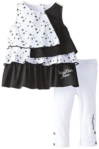 Calvin Klein Little Girls' Printed Tunic with White Legging Set