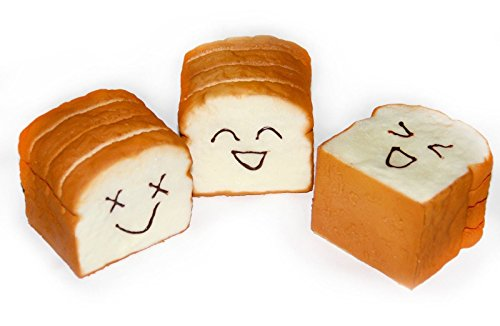 Jumbo Squishy Slice Toast Joy Happy Faces Phone Card stand NEW Random 1 Piece