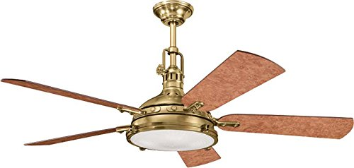 """Kichler 300018BAB, Hatteras Bay Burnished Antique Brass 56"""" Ceiling Fan with Light & Remote from Kichler"""