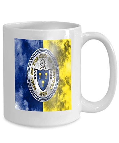 mug coffee tea cup trenton city smoke flag new jersey state united states amer 110z ()