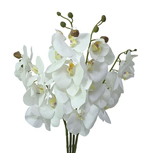 """JAROWN 4pcs 30"""" Phalaenopsis Orchid Artificial Branches Real Touch Latex Flowers for Home Office Wedding Decoration(White,Not silk)"""