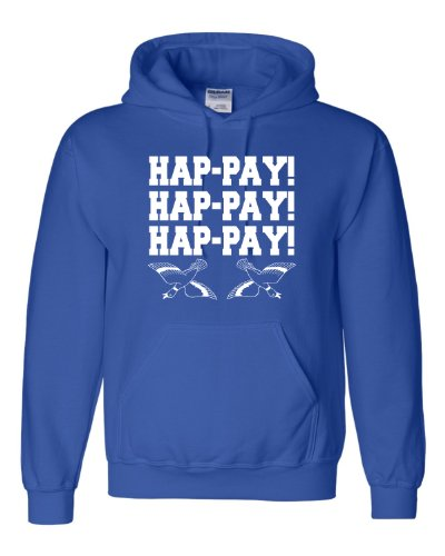 Small Royal Blue Adult HAP-PAY HAP-PAY HAP-PAY HAPPY HAPPY HAPPY Duck Hunting Hooded Sweatshirt Hoodie