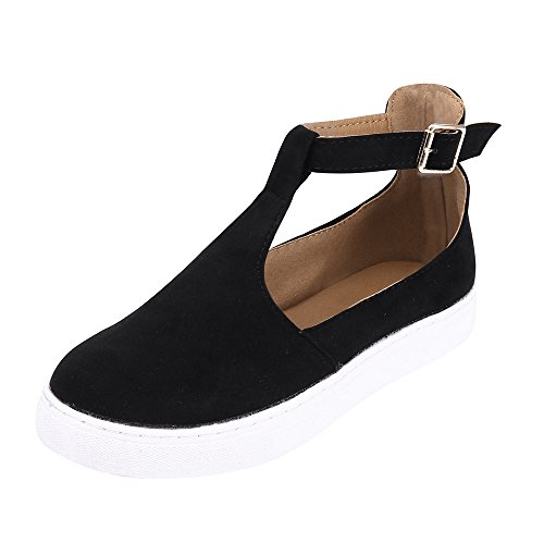 Women Casual Shoes,Kauneus Women Vintage Out Shoes Round Toe Platform Flat Heel Buckle Strap Shoes Black