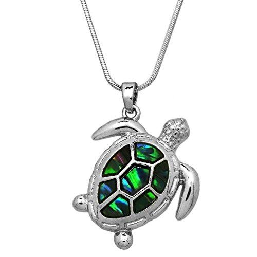 DianaL Boutique Beautiful Design Silver Tone Abalone Sea Turtle Charm Pendant Necklace 17