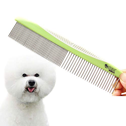 Professional Dog Grooming Steel Combs, Stainless Steel Dog Combs for Grooming, Greyhound Comb for Dogs Professional (Green)