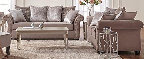 Roundhill Furniture LHU7500 Larvik Contemporary Microfiber Nailhead Trim Sofa Set