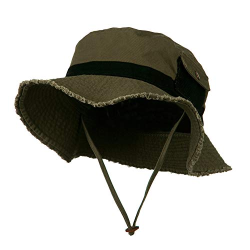 (e4Hats.com Big Size Cotton Twill Washed Bucket Hat - Dark Olive Black 2XL-3XL )