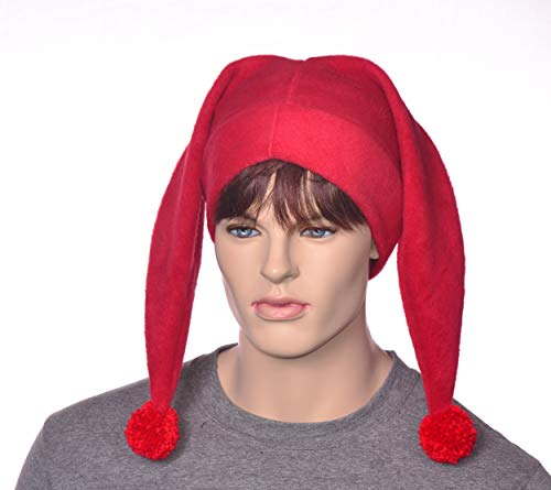 Red Two Pointed Harlequin Style Jester Cap with Pompoms]()