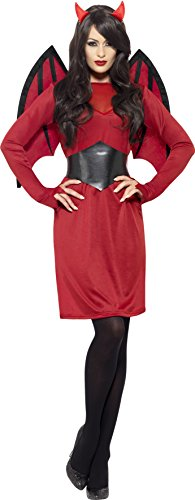 Halloween Costume Devil Horns (Smiffy's Women's Economy Devil Costume, Dress, Wings, Belt and Horns, Legends Of Evil, Halloween, Size 6-8, 43730)