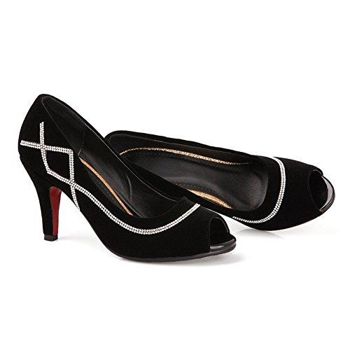 altos tacones para ante Sandalias de sólidas peep toe de con gamuza imitadas Negro mujer VogueZone009 Y40qF4