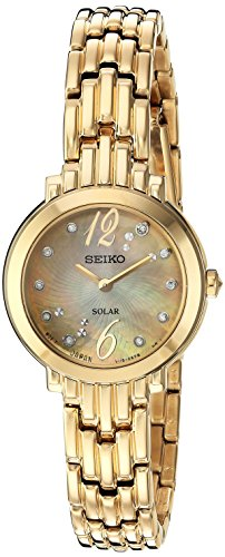 Seiko Women's 'Tressia' Quartz Stainless Steel Casual Watch, Color:Gold-Toned (Model: SUP356) (Toned Watch Steel Gold Womens Stainless Seiko)