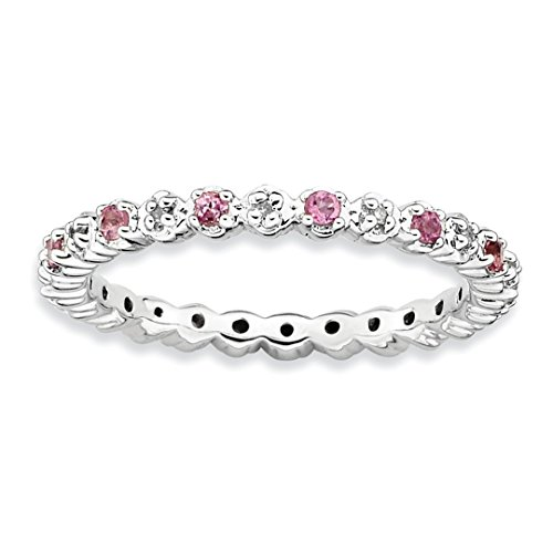 Bands Diamond Gemstone (925 Sterling Silver Pink Tourm. Diamond Band Ring Size 5.00 Stone Stackable Gemstone Birthstone October/pink Tour/creat P Sapphire Fine Jewelry For Women Gift Set)