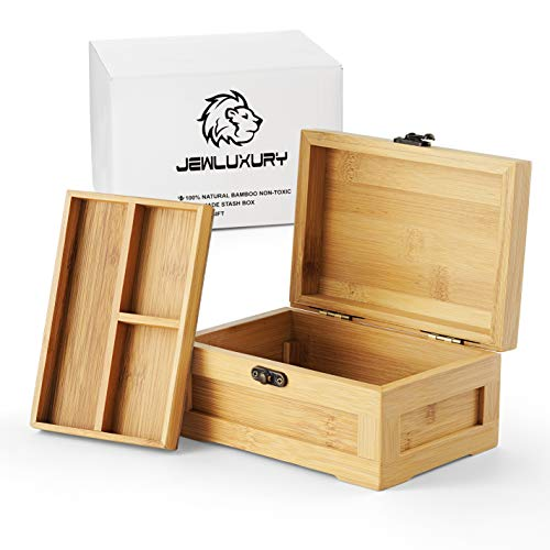 Handmade Bamboo Stash Box and Tray with Metal Latch – Premium Quality for Jewelry and More (Large)