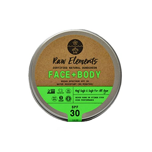 Raw Elements Face and Body Certified Natural Sunscreen | Non-Nano Zinc Oxide, 95% Organic, Very Water Resistant, Reef Safe, Non-GMO, Cruelty Free, SPF 30+, All Ages Safe, Moisturizing, Reusable Tin, 3