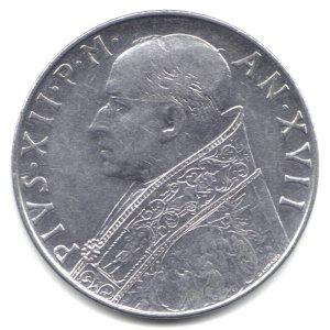 (1955 Vatican City 100 Lira Coin KM#55 - Pope Pius XII )