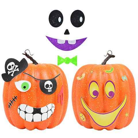 Pumpkin Decorating Craft Kits - Can Decorate 12 Jack-O-Lanterns | Felt, Foam Stickers For Kids, School Projects, Art Classes ()