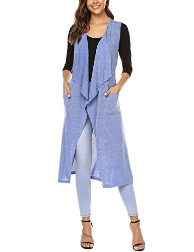 URRU Women's Asymetric Hem Sleeveless Open Front Drape Cardigan Sweater Vest Blue S (Best Way To Store Sweaters In Closet)