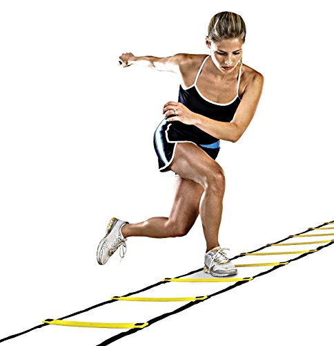 Agility Ladder 12 Adjustable Rungs 19 Feet Durable Multi Sport Training Tool Flat Rung, Agility Speed Training Kit for Soccer, Speed, Football, Fitness with Free Carry Bag