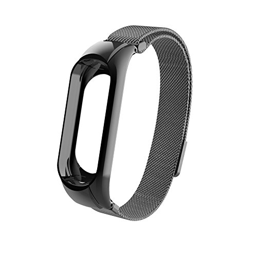 wpOP59NE Watch Band for Xiaomi Mi Band 3Replacement Magnetic Clasp Stainless Steel Wrist Strap Black