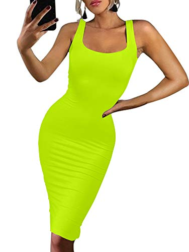 BEAGIMEG Women's Sexy Bodycon Sleeveless Pencil Knee Length Club Tank Dress Fluorescent Green