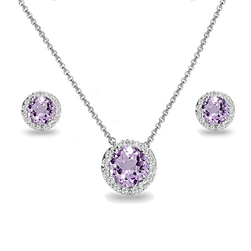 Sterling Silver Genuine, Created or Simulated Gemstone and White Topaz Accents Round Halo Necklace and Stud Earrings Set