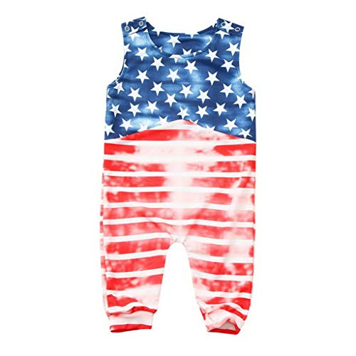 Cute Baby 4th of July Stars and Striped Patriotic Backless Romper Jumpsuit Baby Boys Girls Clothes Ribbed Baby Clothes 18M Red