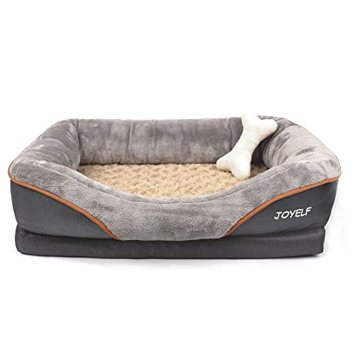 (JOYELF Large Memory Foam Dog Bed, Orthopedic Dog Bed & Sofa with Removable Washable Cover and Squeaker Toy as Gift)