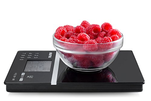 Gourmia GKS9110 Nutrition Scale Tempered Glass Kitchen Scale with Calorie Counter & Digital Touchscreen Display 5kg [11lb] Capacity Measures 22.4 x 15