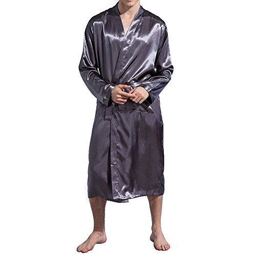 Amzchoice Men V Neck Satin Robe Kimono Long Bathrobe Lightweight Sleepwear Wedding (XXL, Grey) by Amzchoice