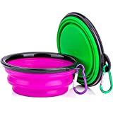 IDEGG Portable Silicone Pet Bowl, 5 Inches, Foldable Expandable Water Feeding Travel Bowl Cup Dish for Pet Dog Cat and Small Animals (Set of 2, Purple+Green)