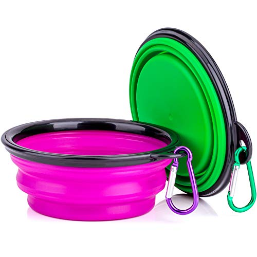 (IDEGG Portable Silicone Pet Bowl, 5 Inches, Foldable Expandable Water Feeding Travel Bowl Cup Dish for Pet Dog Cat and Small Animals (Set of 2, Purple+Green))