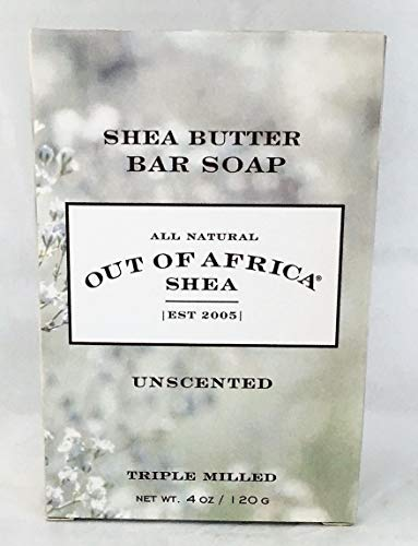 Out Of Africa Unscented Shea Butter Bar Soap, 4-Ounce Boxes (Pack of 4)
